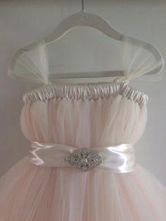 Blush tutu flower girl dress with embellished sash by HadandHarps, $75.00