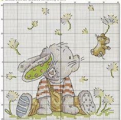 Hobby lavori femminili - ricamo - uncinetto - maglia: Schema punto croce Coniglietto con il topolino