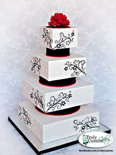 Black, Red, White Wedding Cake make it without the black layers