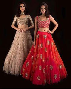 Beautiful red and ivory lehengas with blouses from Banjara By MrunaliniRao shop at carma india. Half Saree Designs, Lehenga Designs, Saree Blouse Designs, Indian Wedding Outfits, Indian Outfits, Indian Dresses, Indian Designer Outfits, Designer Dresses, Indian Designers
