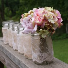 set of 6 vintage jars, centerpieces vases candles romantic  vintage  cottage  beach shabby chic coastal antique farmhouse garden outdoor. $30.00, via Etsy.