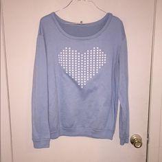 Blue sweatshirt Studded white heart Charlotte Russe Tops Sweatshirts & Hoodies