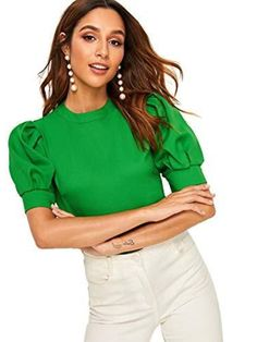 Romwe Women's Petite Elegant Puff Sleeve Keyhole Back Short Sleeve Office wear Blouse Top Shirt Green XS Stylish Blouse Design, Look Chic, Types Of Sleeves, Blouse Designs, Blouses For Women, Ideias Fashion, Fashion Outfits, How To Wear, Office Wear