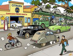 Citroen Ds, Traction Avant, Citroen Traction, 2cv6, Classic Comics, Car Drawings, Commercial Vehicle, Small Cars, France