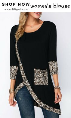 Asymmetric Hem Leopard Print Three Quarter Sleeve Blouse – Daily Posts for Women Casual Skirt Outfits, Mode Outfits, Mode Jeans, Spring Shirts, Mode Hijab, Ladies Dress Design, Blouses For Women, Women's Blouses, Ladies Blouses