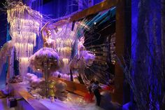 Violet shaded ballerina - dress designed with silk, tulle, feathers, and Swarovski crystals for Harrod's, London, Christmas window display. Dress designed by: Zuhair Murad.
