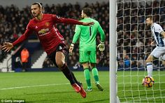 Zlatan Ibrahimovic celebrates after scoring the first of his two goals against West Brom