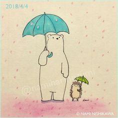 1441 #花吹雪 shower of cherry blossoms この雨で桜は散ってしまうかな #illustration #hedgehog #polarbear #イラスト #ハリネズミ #シロクマ #なみはりねずみ