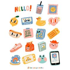 Kawaii Stickers, Cute Stickers, Korean Stickers, Cartoon Art Styles, Journal Stickers, Aesthetic Stickers, Cute Cartoon Wallpapers, Cute Doodles, Printable Stickers