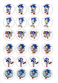 sonic cupcake toppers for tristen's b-day!!