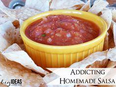 Simple & Quick homemade salsa recipe. So delicious...it's addicting! bigideaslittlecents.com