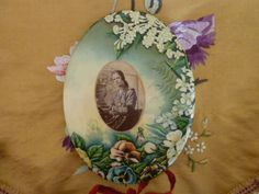 Antique Victorian Celluloid Portrait Photo of a Women Tin Metal Easel Floral Button Frame with Pansies