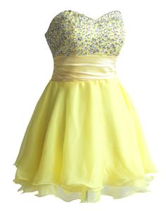 Yellow Dress - Pin It :-) Follow Us :-))  azDresses.com  is your  Dresses Product Gallery.  CLICK IMAGE TWICE for Pricing and Info :) SEE A LARGER SELECTION of yellow dresses at http://azdresses.com/category/dress-categories/dresses-by-color/yellow-dress/ -   women, womens fashion, dress, womens dresses -  Faironly Silk Chiffon Strapless Mini Short Cocktail Evening Dress (XXL, Yellow) « AZdresses.com