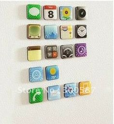 Cool 2012 new mobile telephone Icon Refrigerator Magnet fridge magnet for Sticker (18piece/set)-in Fridge Magnets from Home & Garden on Alie...