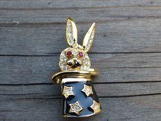 Vintage KJL Kenneth Jay Lane Rabbit in a Magic Hat by Seemeshop2, $59.00