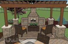Patio with Pergola Over Fireplace Area | Patio Designs and Ideas by jana