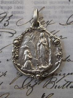 Very Rare Notre Dame De Lourdes French Silver Holy Medal, Religious Medallion With Blooming Roses, Blessed Virgin Mary Our Lady Holy Mother