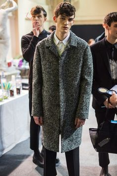 Oversized mottled grey coat at Wooyoungmi AW14: http://www.dazeddigital.com/fashion/article/18499/1/wooyoungmi-aw14