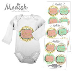 12 Monthly Baby Stickers, Gold Foil {Faux}, Pink, Mint, Girl, Baby Belly Stickers, Monthly Onesie Stickers, First Year Stickers Months 1-12, Hearts, Polka Dots, Baby Girl >>> Special offer just for you. : Nursery Decor