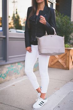 white skinny jeans, adidas superstar sneaker, black faux leather jacket // grace wainwright @asoutherndrawl