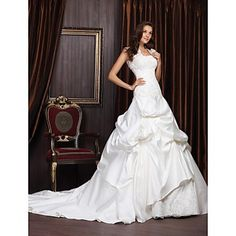 Ball Gown Sweetheart Chapel Train Satin Lace Wedding Dress With Wrap  – USD $ 299.99