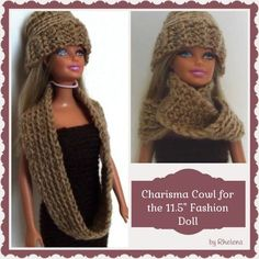 "FREE crochet pattern for a Charisma Cowl for the 11.5"" Fashion Doll."