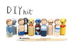DIY Peg Doll Big Kids in a Bag // Kids Art Kit // Craft Kit // gift or party favor // Wooden Peg People