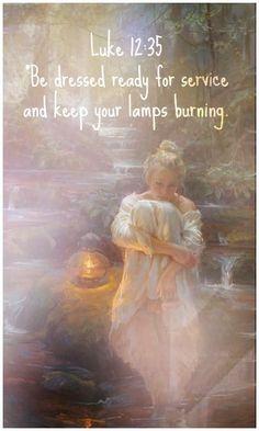 Lamp burning, wise virgin