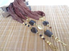 Brown Jewelry Scarf Scarf Necklace Gold Necklace by sevinchjewelry, $65.00