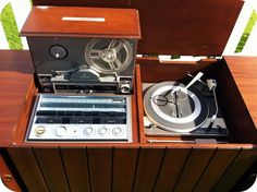 Vintage Zenith Stereo Console with Pop-Up Reel-to-Reel & Speaker Louvres (detail)