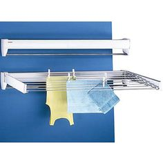 Air dry your clothing with this handy extending wall drying rack - Perfect for small laundry rooms because it takes up almost no space when not in use Laundry Hanger, Drying Rack Laundry, Laundry Dryer, Clothes Drying Racks, Clothes Dryer, Wall Mounted Clothes Airer, Sweater Drying Rack, Wall Mounted Drying Rack, Garage Storage Solutions