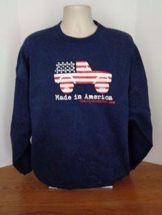 Ford Bronco Truck USA America Mens Blue Crew Sweatshirt Size 2XL Vintage Casual #UltimateHANES #SweatshirtCrew
