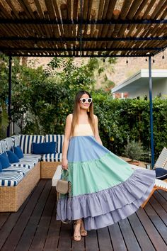 MDS Stripes Tiered Tank Dress at Holiday House Palm Springs Stylish Dresses, Cute Dresses, Casual Dresses, Frock Fashion, Fashion Dresses, Indian Designer Outfits, Designer Dresses, Casual Frocks, Indian Gowns Dresses