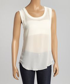 Another great find on #zulily! White Sheer Boatneck Tank by MSKollection #zulilyfinds