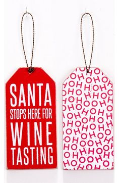 'Santa Stops Here' Bottle Gift Tag at Nordstrom.com. A simple gift tag for a special bottle is sure to spread the holiday spirit.