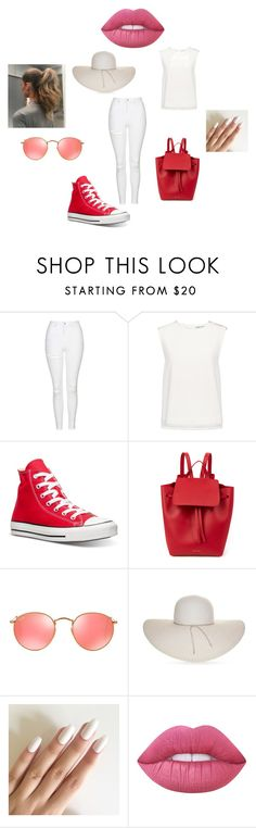 """Book Character Idea"" by littlevenice ❤ liked on Polyvore featuring Topshop, Finders Keepers, Converse, Mansur Gavriel, Ray-Ban, Nine West and Lime Crime"