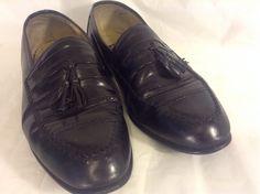 Men's Stacy Adams Black Leather Tassel Loafer Slip On Vibram Heels Shoes Sz. 9 W #StacyAdams #LoafersSlipOns