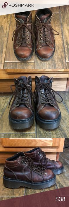Dr Martens brown leather lace up boots Dr. Martens brown leather boots made in England size marked 4 which is U.S. size 6 according to their website great condition normal wear see pictures Dr. Martens Shoes Lace Up Boots