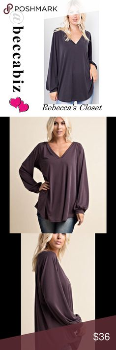 NEW! Soft beautiful v-neck long cuffed sleeve top Easy to wear and very soft.   V-neck, long cuffed sleeve top in charcoal.  Loose and comfortable fit that has been made with a prewashed, rib modal fabrication.   65% Rayon 35% Polyester. Made in the USA. No trades. Price firm unless bundled Boutique Tops