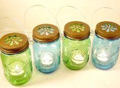 Vintage Blue & Green Mason Jar Lanterns