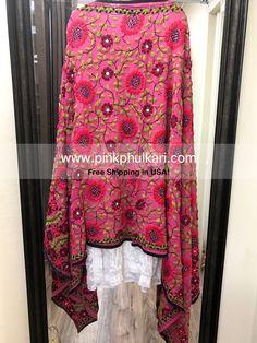 Parsi work Phulkari Dupatta, Handwork, one of kind. Shawl, chunni, odhni. Shop Online in USA. Free Shipping in USA! Buy Online Now www.PinkPhulkari.com