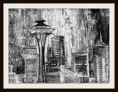 BlackAndWhite Seattle  Painting