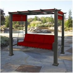 Elegant Pergola 3 Person Patio Swing   Red    Ooo... Pretty!