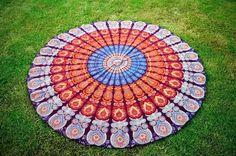 Indian Mandala Round Tapestry Hippie Beach Throw Towel Boho Roundie Yoga Mat... #Handmade