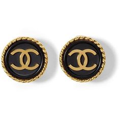 Luxe Vintage Finds Chanel CC Button Earring ❤ liked on Polyvore featuring jewelry, earrings, accessories, chanel, vintage earrings, vintage jewellery, vintage jewelry, earrings jewelry and button jewelry