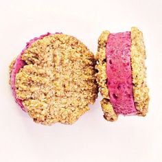 Necessary afternoon ice cream sandwich - almond 'shortbread' with a banana strawberry beet ice cream…
