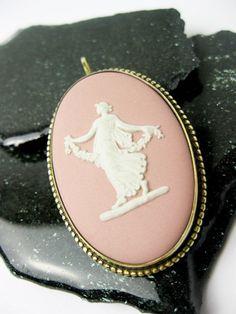 Pink Wedgewood  Muse Mounted in 9K Rose Gold, Pendant/Pin. UK ca.1940.. via Etsy