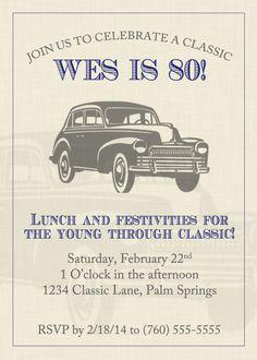 Vintage Car Birthday Invitation Everythings Better Vintage 5x7