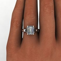The Lorraine Ring Forever Brilliant Moissanite Unique Engagement Ring Emerald Cut Cut 2.5 CTW