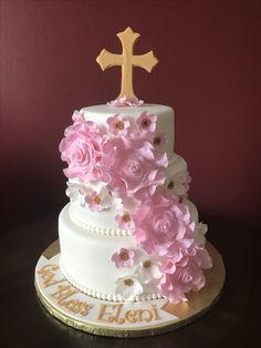 Christening Cake Cross Cakes, Baptisms, Communion, Christening, Birthday Parties, Party, Desserts, Food, Anniversary Parties